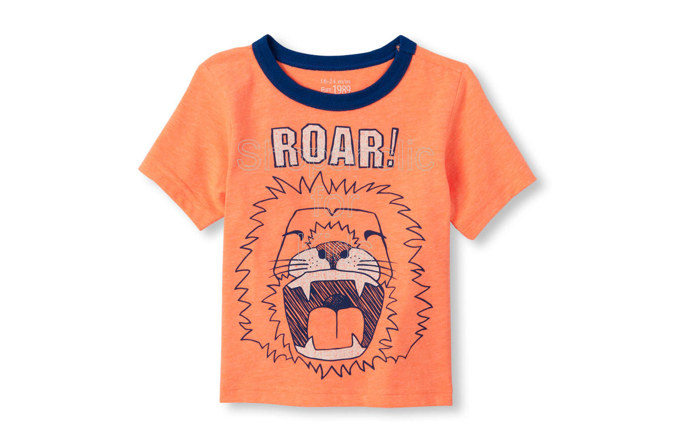Children's Place Lion Graphic Neon Tee Orange Splash - Shopaholic for Kids