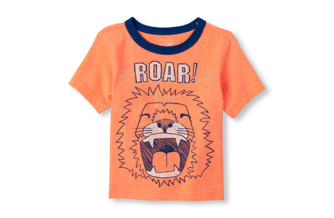 Children's Place Lion Graphic Neon Tee Orange Splash