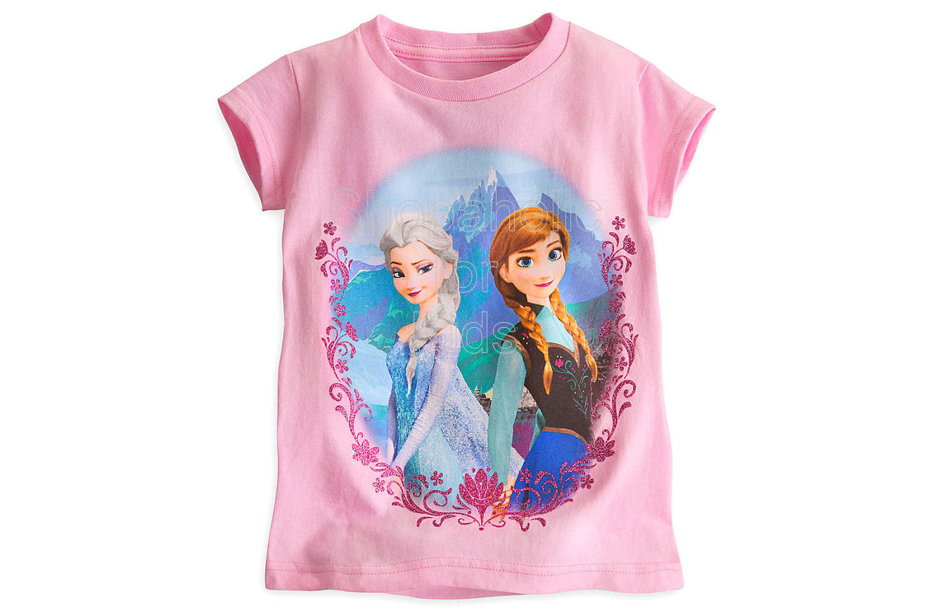 Anna and Elsa Tee for Girls - Frozen - Shopaholic for Kids