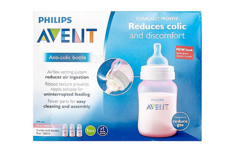 Philips Avent Anti-Colic BPA Free Bottle, Pink, 9oz, Pack of 3