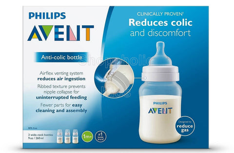 Philips Avent Anti-Colic BPA Free Bottle, Clear, 9oz, Pack of 3