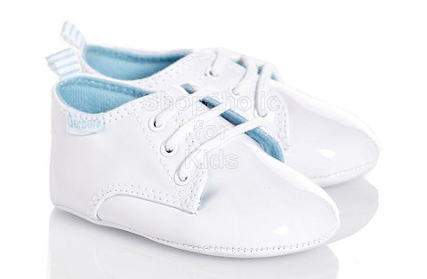 Gerber White Patent Lace Shoes for Baby Boy