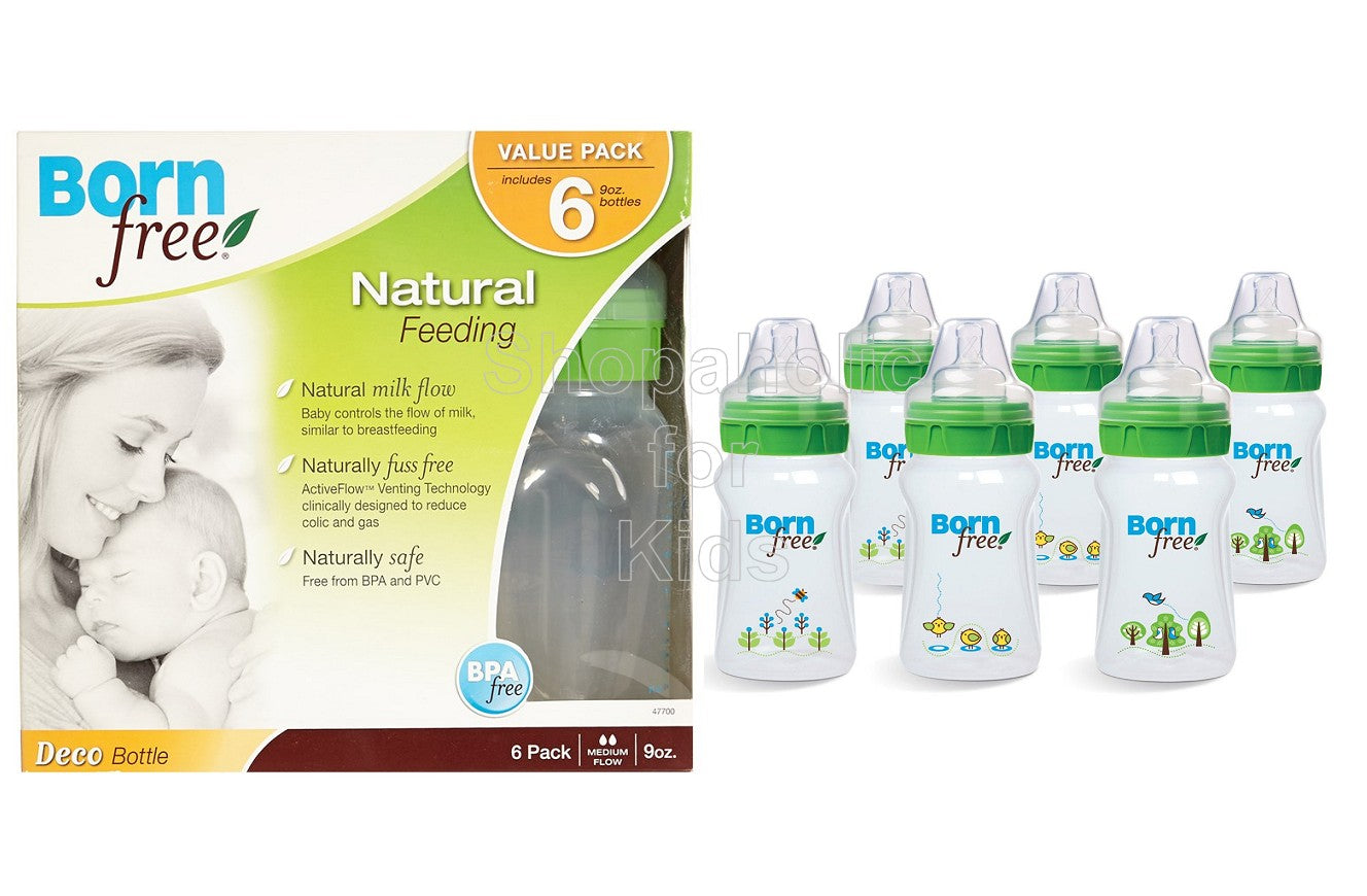 Born Free 9oz Natural Feeding Deco Bottles 6-pack - Shopaholic for Kids