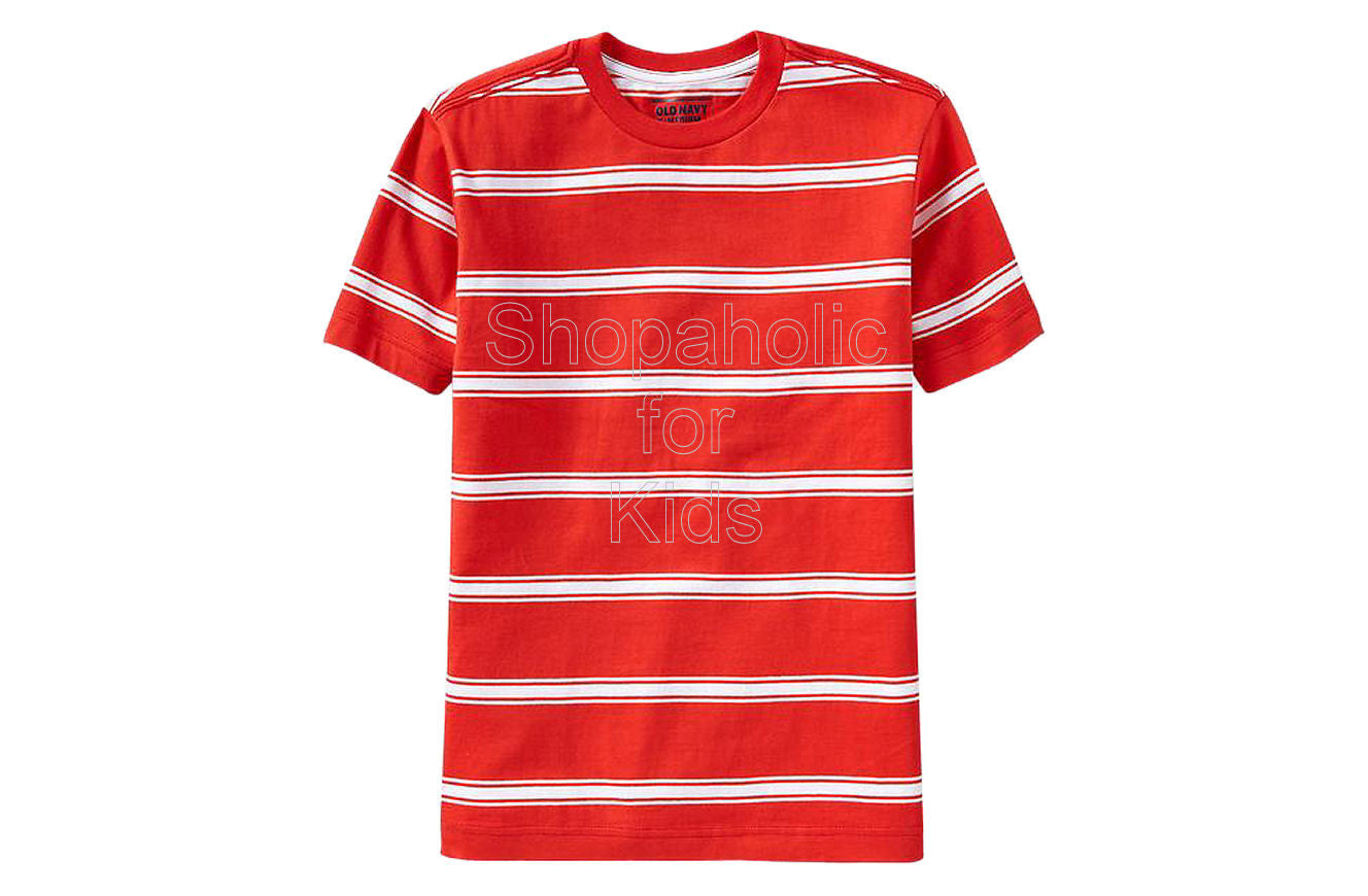 Old Navy Boys Classic Striped Tees Color: Crimson And Clove