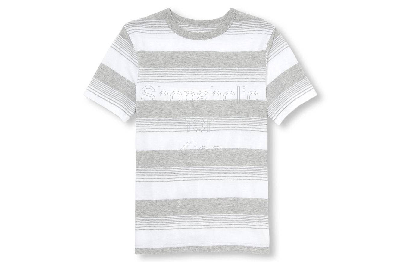 Children's Place Boys Matchables Short Sleeve Striped Top White - Shopaholic for Kids