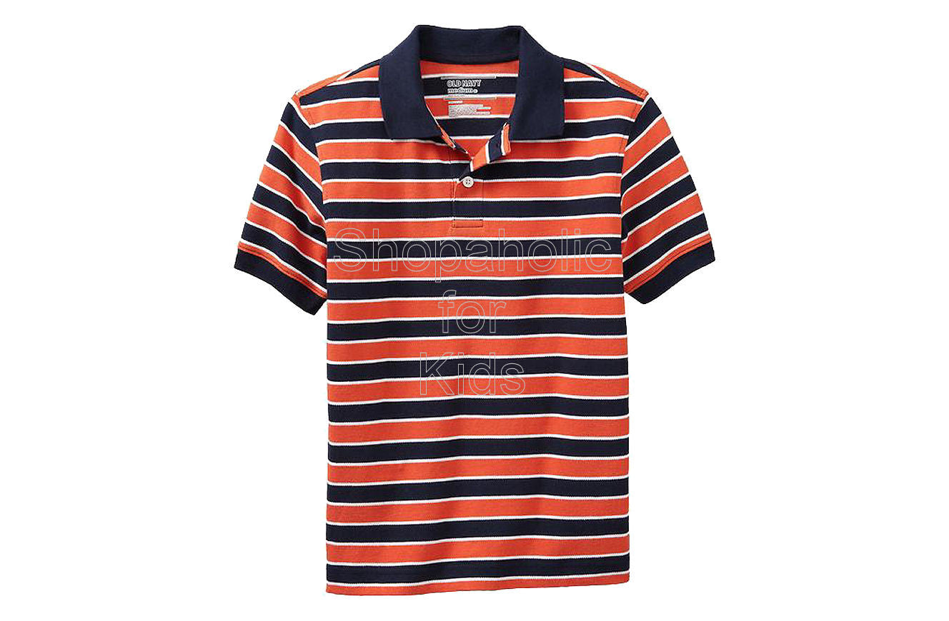 Old Navy Boys Striped Pique Polos Color: Vermillion - Shopaholic for Kids