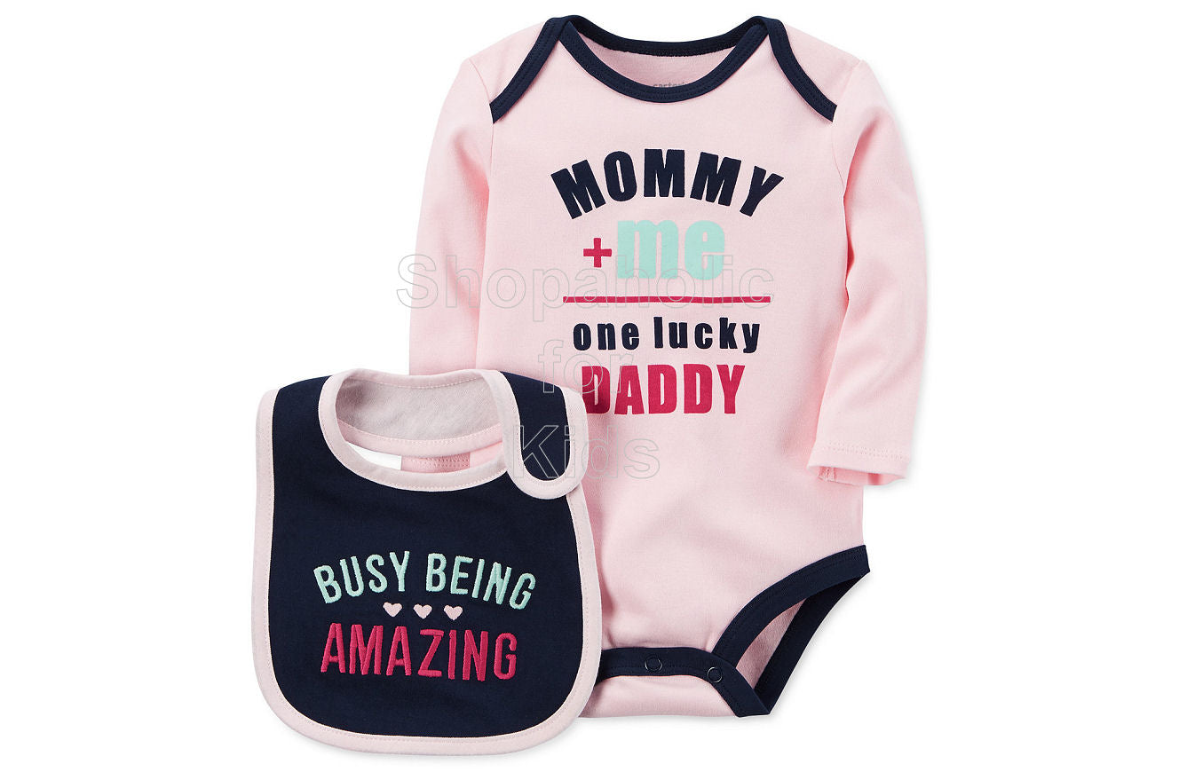 Carter's 2-Pc. One Lucky Daddy Cotton Bodysuit & Bib Set - Shopaholic for Kids