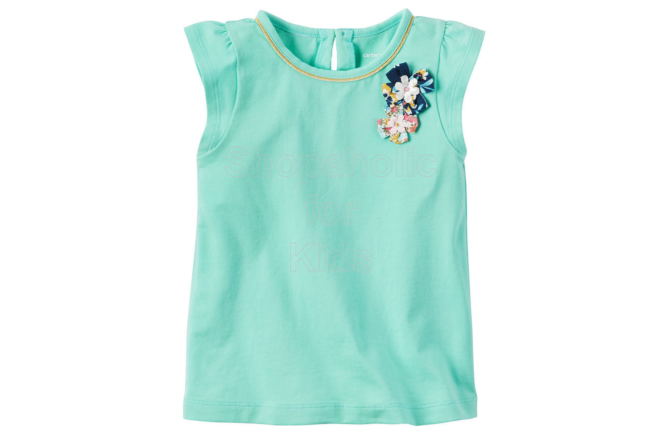 Carter's Flutter-Sleeve Top - Green - Shopaholic for Kids