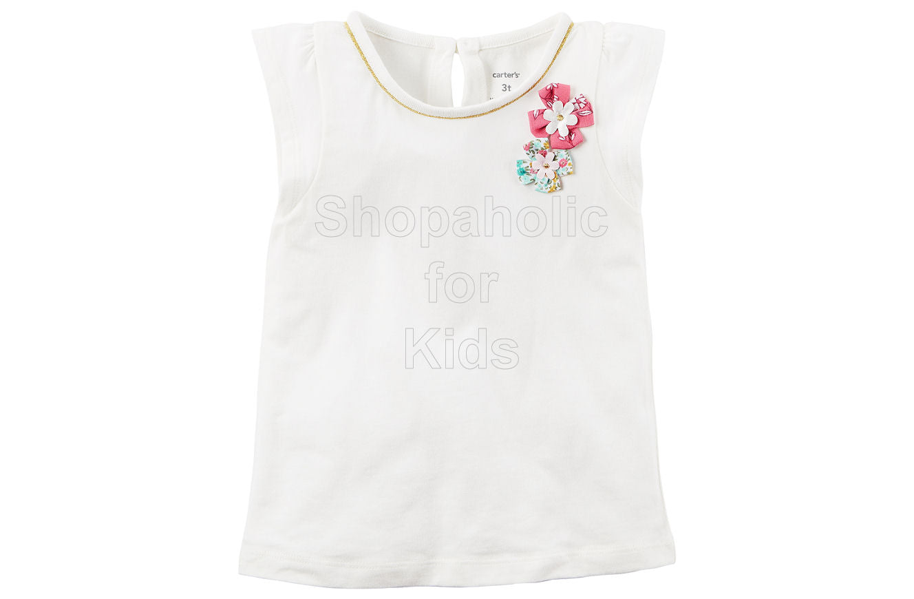 Carter's Flutter-Sleeve Top - White - Shopaholic for Kids