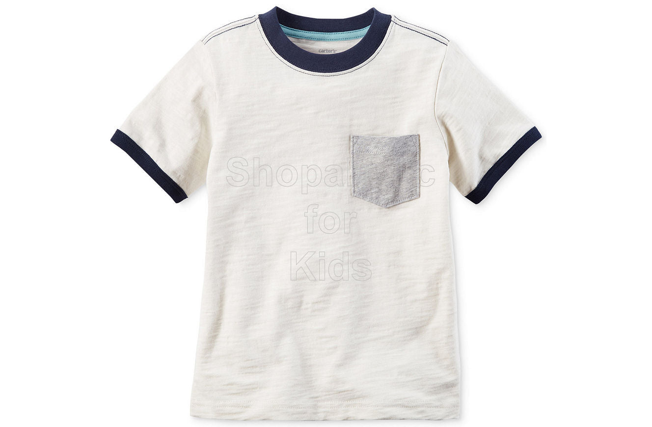 Carter's Pocket Cotton T-Shirt - White - Shopaholic for Kids