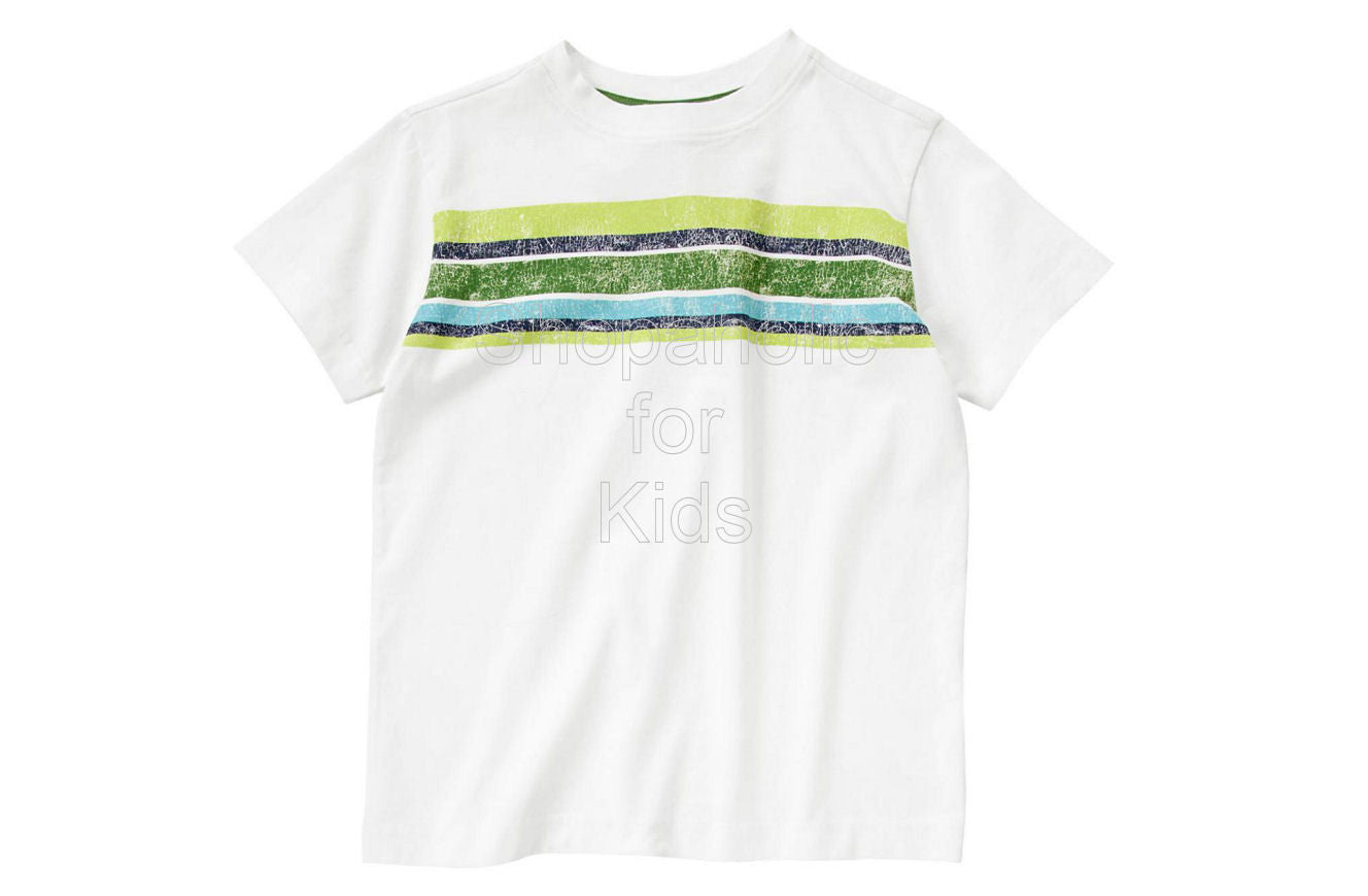 Crazy8  Chest Stripe Tee White - Shopaholic for Kids