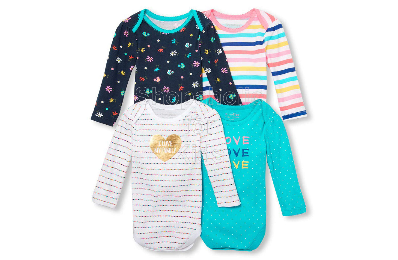 Children's Place Bundles Long Sleeve Bodysuit fro Girls, I Love My Family , 0-3mos, Pack of 4 - Shopaholic for Kids