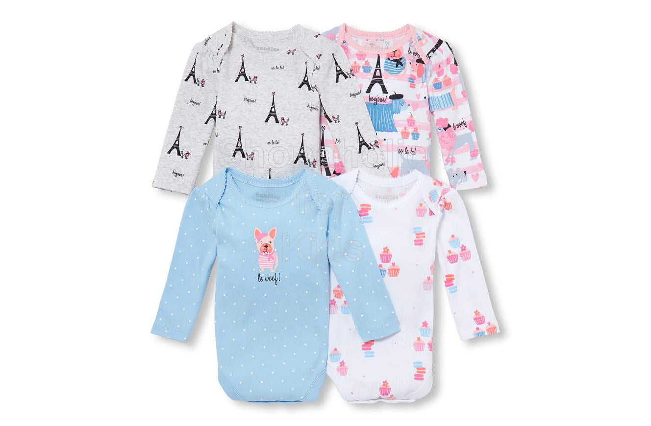 Children's Place Bundles Long Sleeve Bodysuit for Girls, Le Wolf, 3-6mos, Pack of 4 - Shopaholic for Kids
