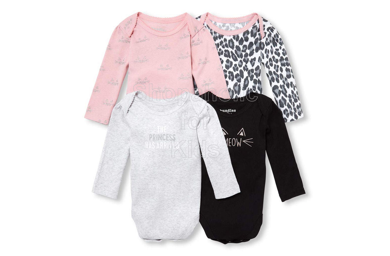 Children's Place Bundles Long Sleeve Bodysuit for Girls, The Princess Has Arrived, 0-3mos, Pack of 4 - Shopaholic for Kids