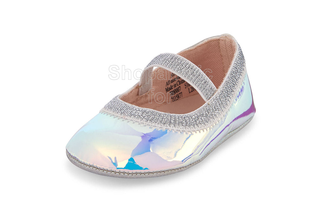 Childrens Place Holographic Ballet Flats, 0-3mos - Shopaholic for Kids