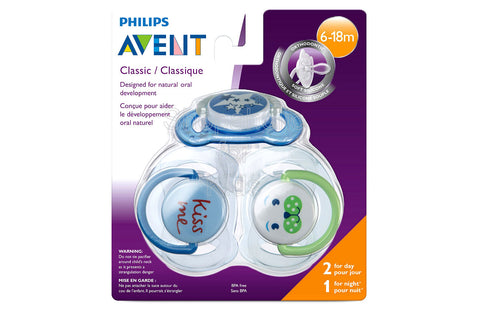 Philips Avent Night Time Pacifier for Boys, Pack of 3
