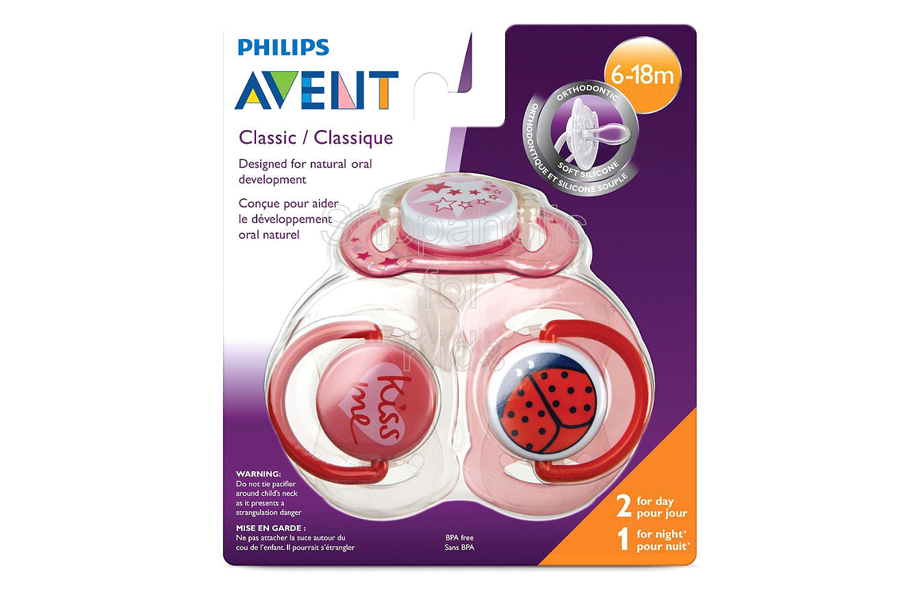 Philips Avent Night Time Pacifier for Girls, Pack of 3 - Shopaholic for Kids