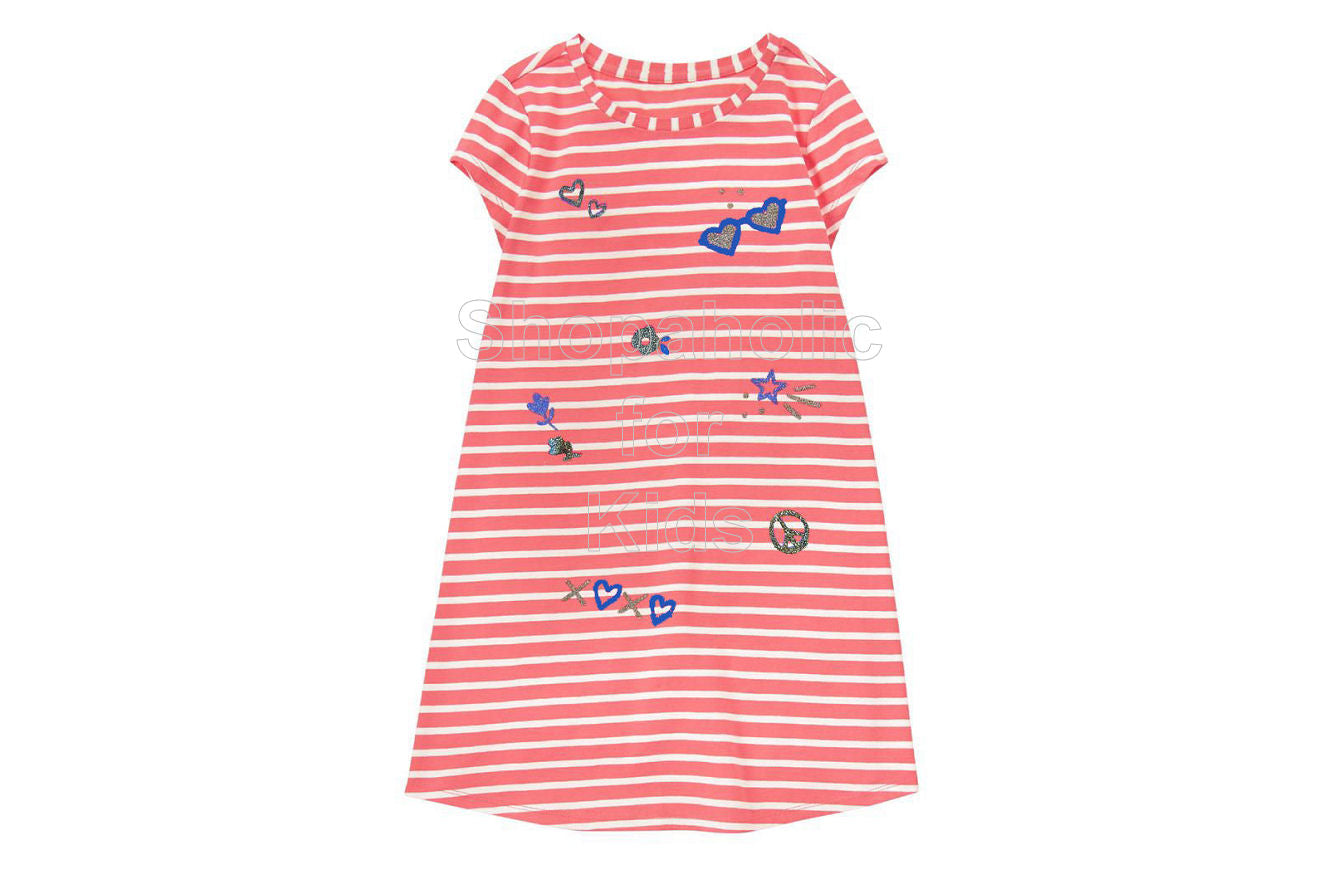 Gymboree Coral Striped Printed Shift Dress - Shopaholic for Kids
