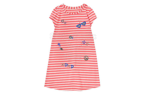 Gymboree Coral Striped Printed Shift Dress