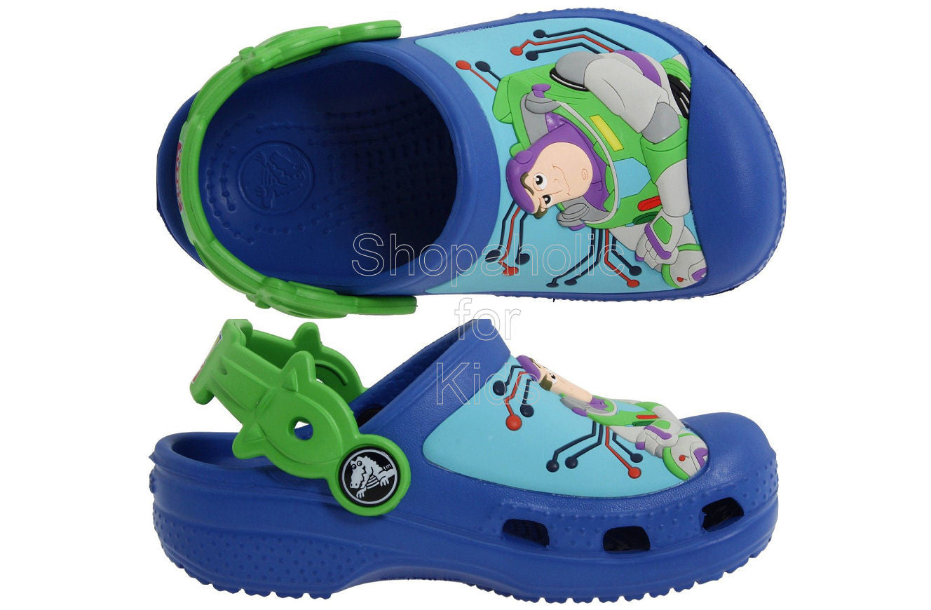 Crocs Woody And Buzz Lightyear Sea Blue/Lime Mules And Clogs Sandal - Shopaholic for Kids