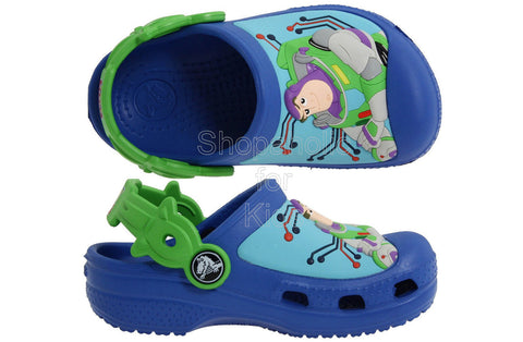 Crocs Woody And Buzz Lightyear Sea Blue/Lime Mules And Clogs Sandal