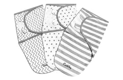 CuddleBug Adjustable Baby Swaddle Blanket & Wrap, Pack of 3 (0-3 Months Old)