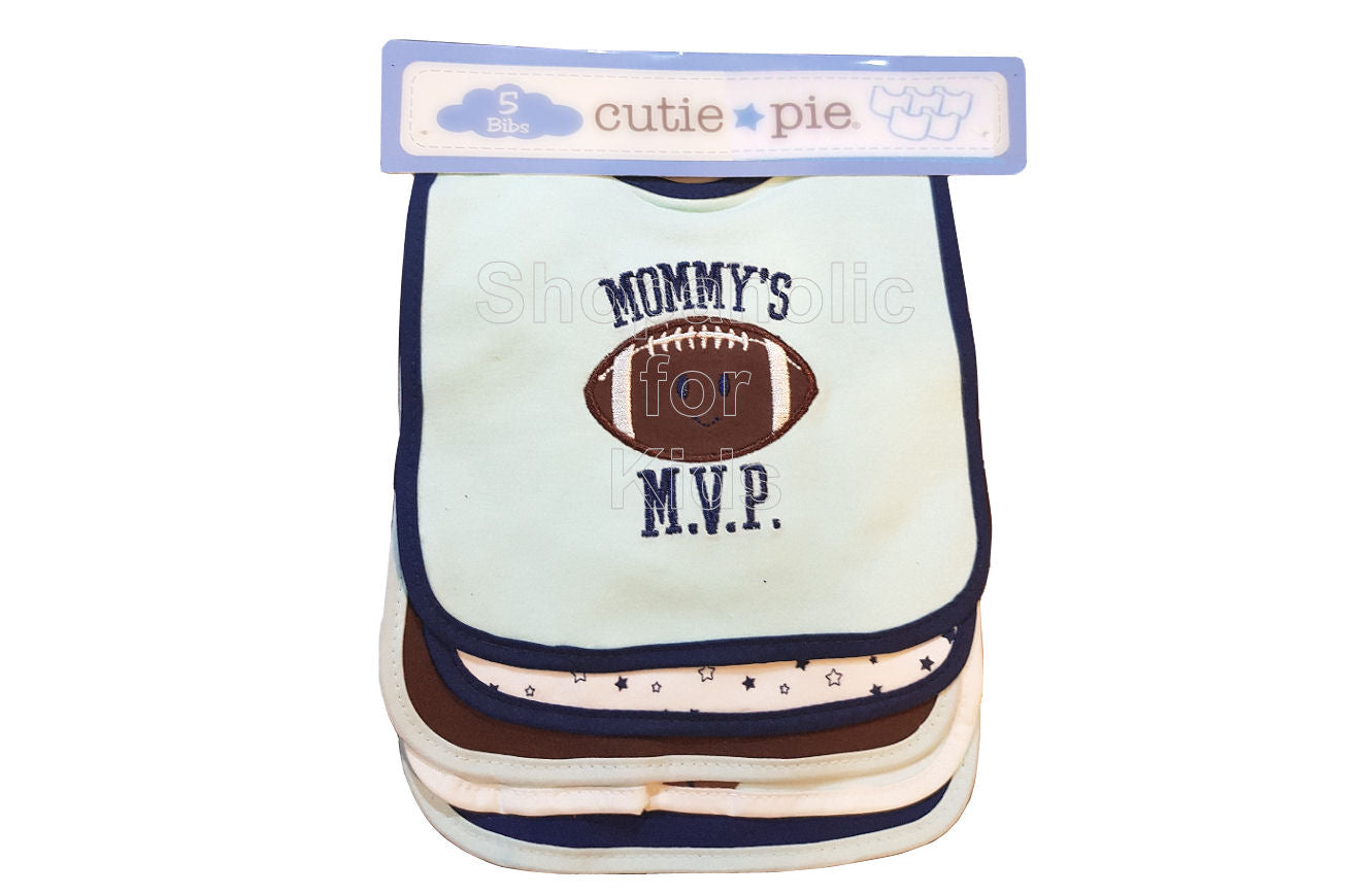 Cutie Pie Mommy's MVP Football Bibs 5 Pack - Shopaholic for Kids
