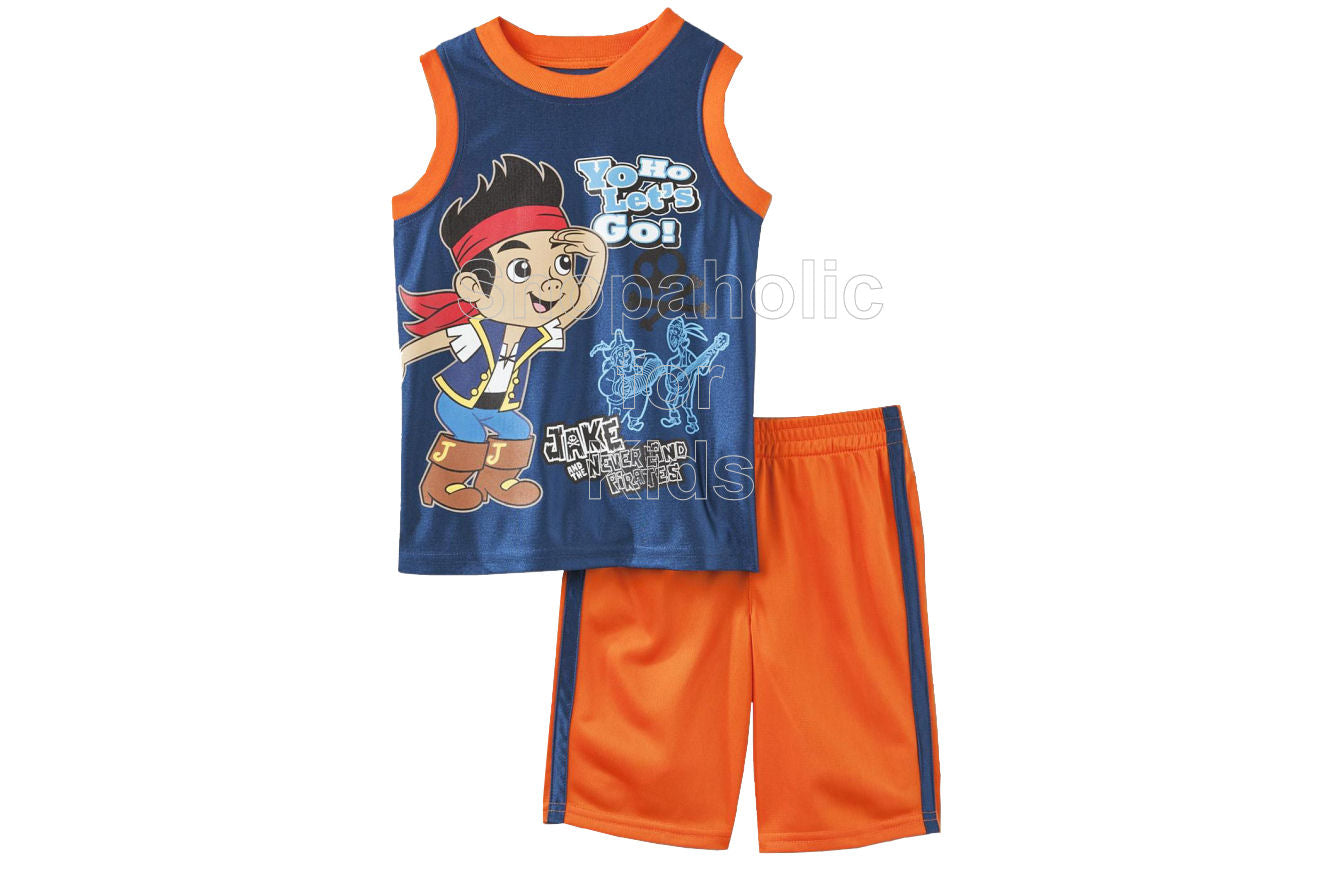 Jake and the Neverland Pirates Tank Top & Shorts Orange/White - Shopaholic for Kids