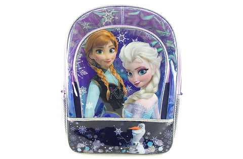 Disney Frozen Girl's 16 inch Backpack - Blue Snowflake