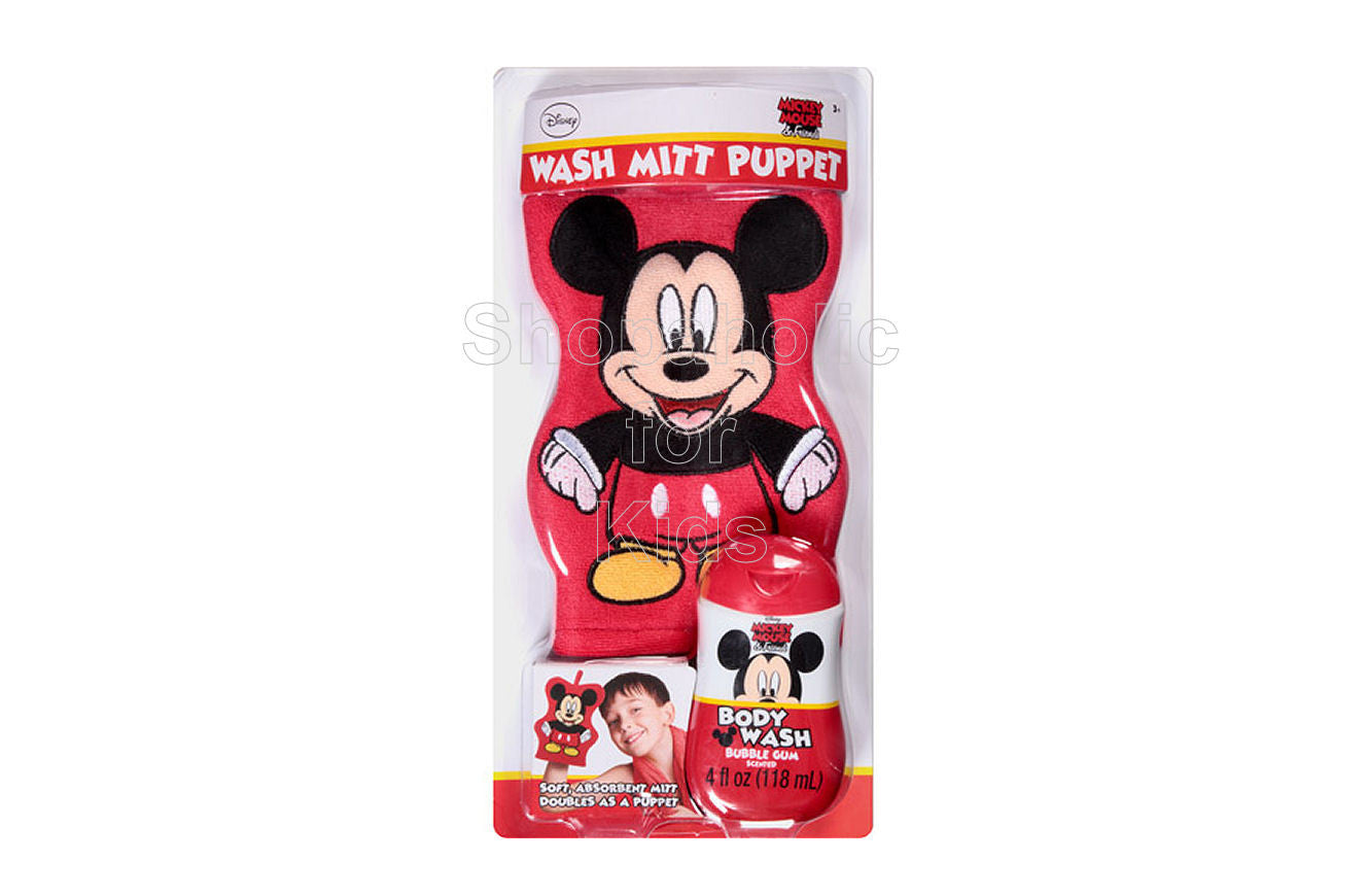Disney's Mickey Mouse & Friends Bubble Gum Wash Mitt Puppet Bath Gift Set, 2 pc - Shopaholic for Kids