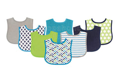 Luvable Friends Blue/Lime Drool Bibs, Pack of 8 - Shopaholic for Kids