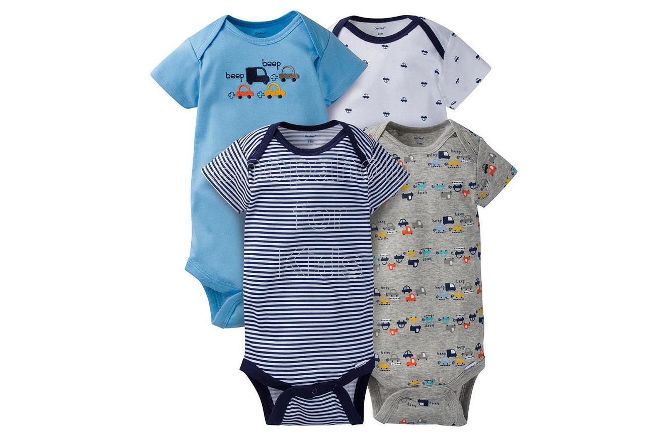 8d837e8e4 Gerber Baby Blue Cars Short Sleeves Onesies, 24mos, Pack of 4 ...