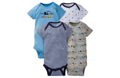 Gerber Baby Blue Cars Short Sleeves Onesies, 24mos, Pack of 4