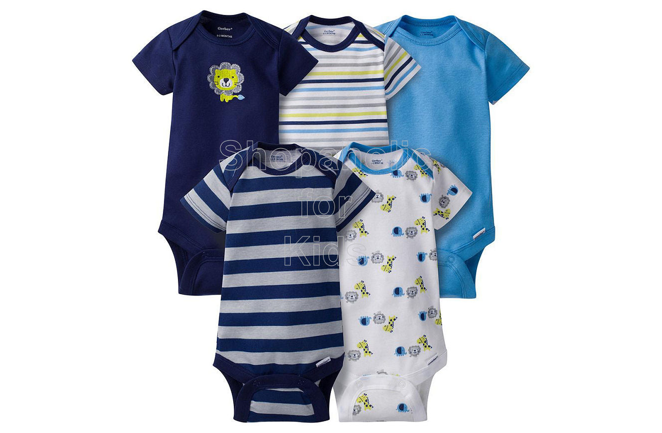 Gerber Baby Boy Lion Short Sleeves Onesies, 0-3mos, Pack of 5