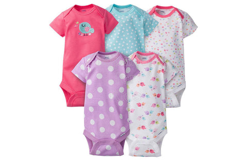 Gerber Baby Girl Bird Short Sleeves Onesies, 0-3mos, Pack of 5