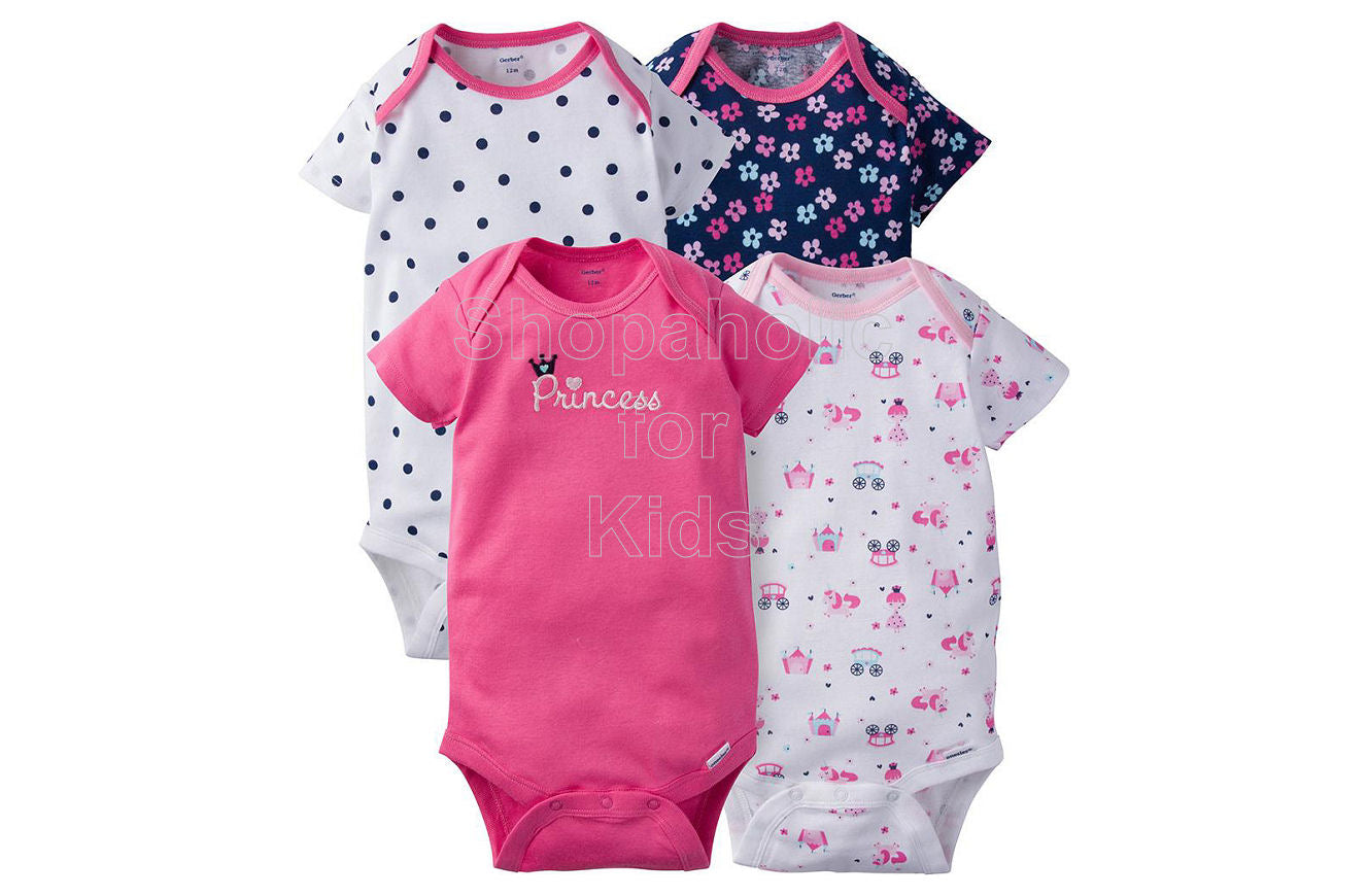 Gerber Baby Girl Princess Short Sleeves Onesies, 18mos, Pack of 4
