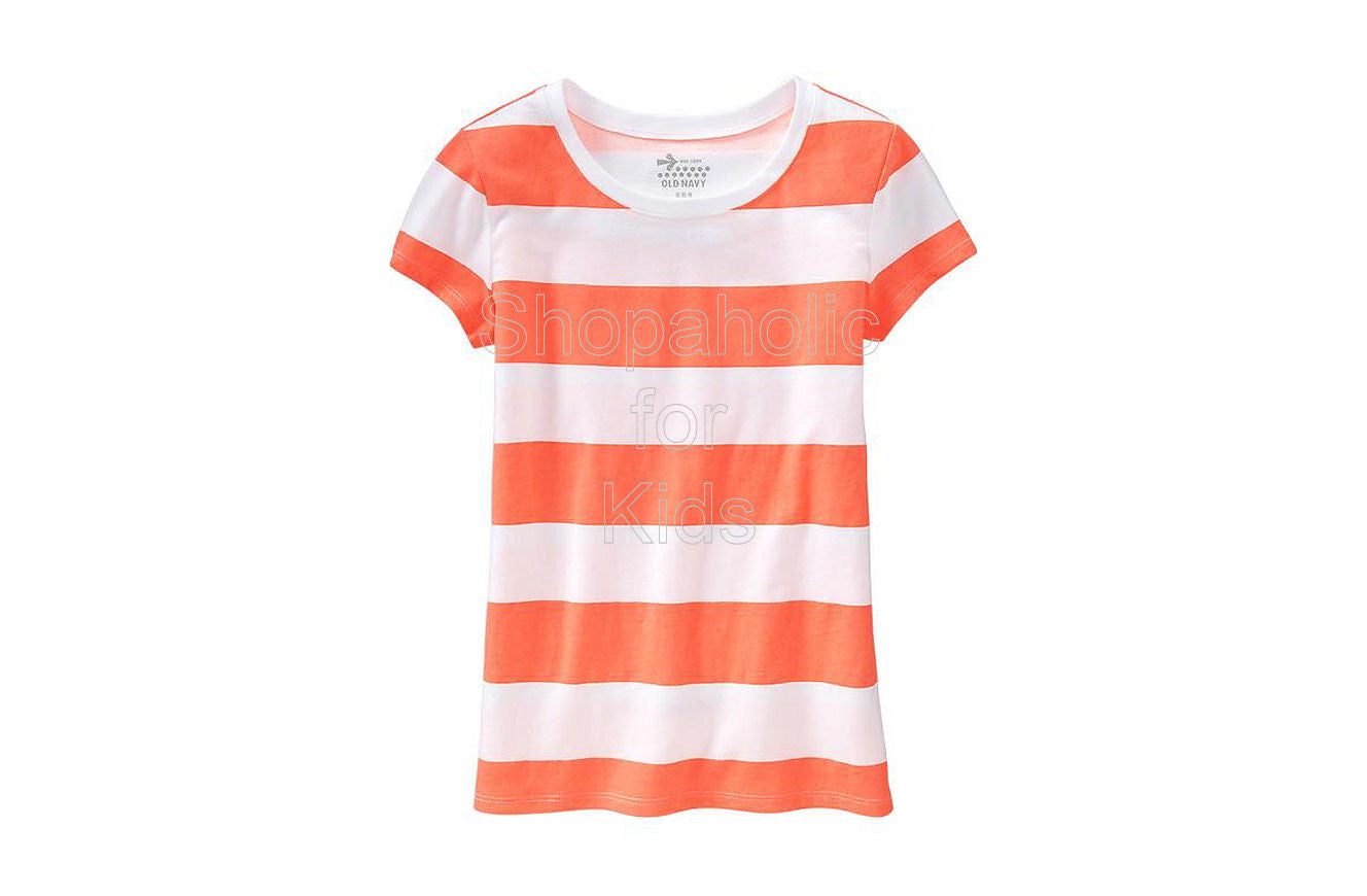 Old Navy Girls Cap-Sleeve Printed Tee - Neon Orange Shirt