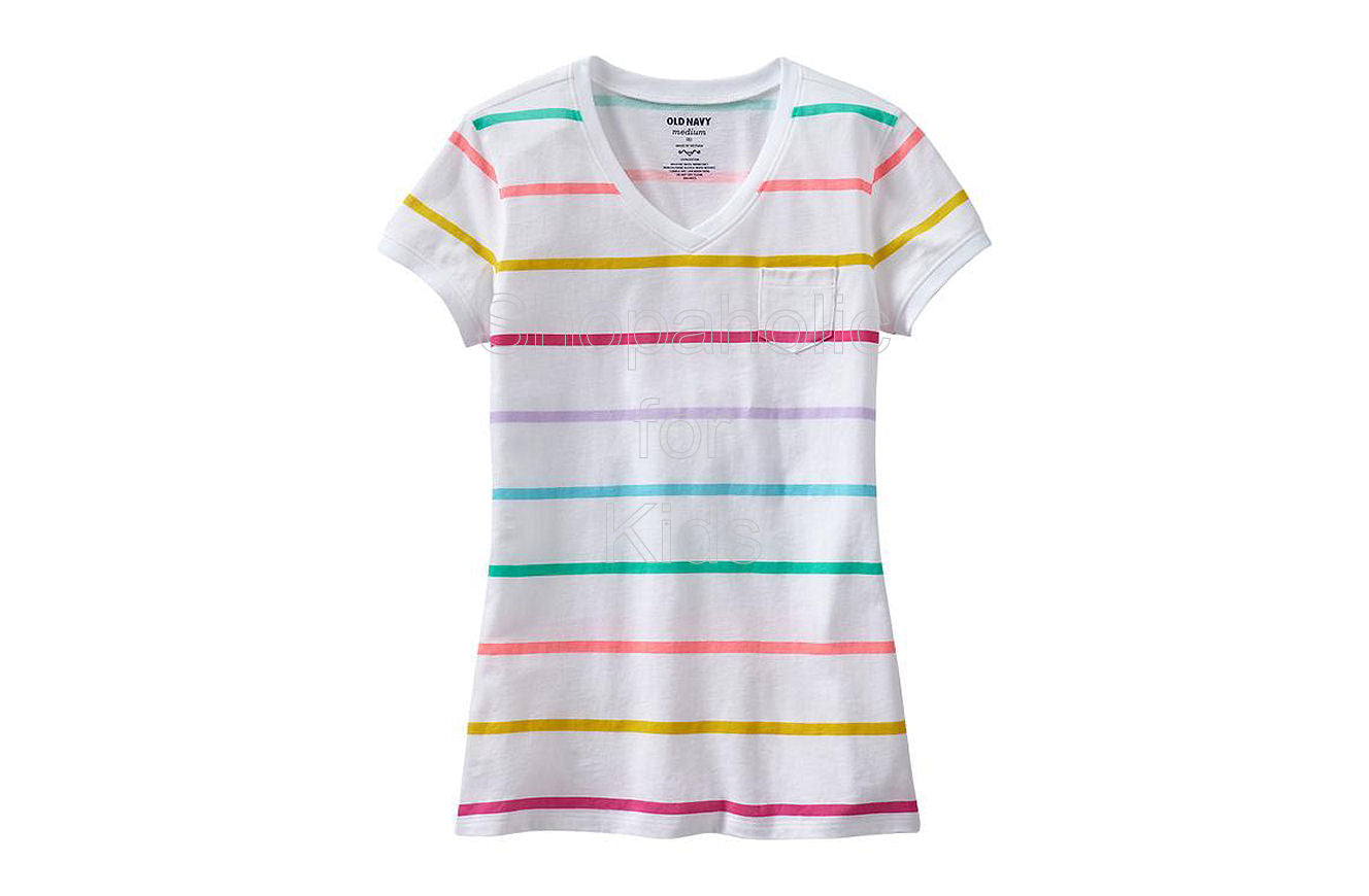 Old Navy Girls Printed Pocket V-Neck Color: White Stripe
