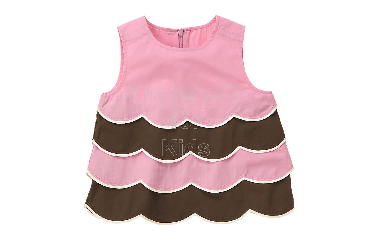 Gymboree Tea for Two Pink Brown Tiered Top - Shopaholic for Kids