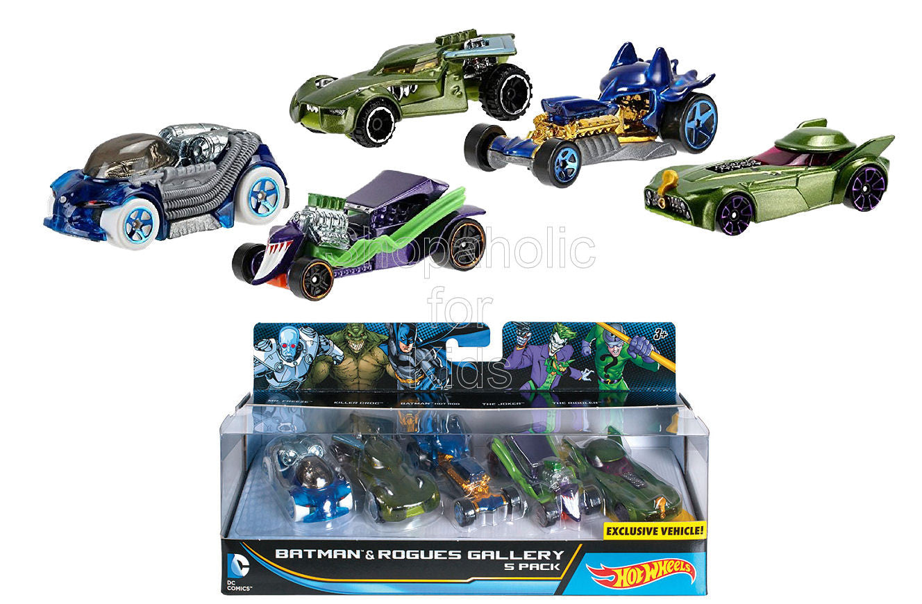 Hot Wheels DC Comics Batman and Rogues Gallery Vehicle, 5 Pack