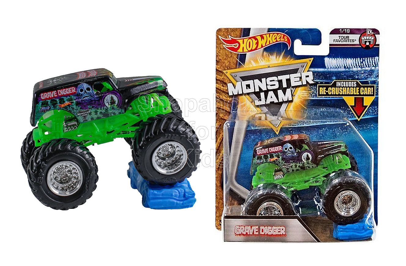 Hot Wheels Monster Jam Grave Digger with Re-Crushable Car