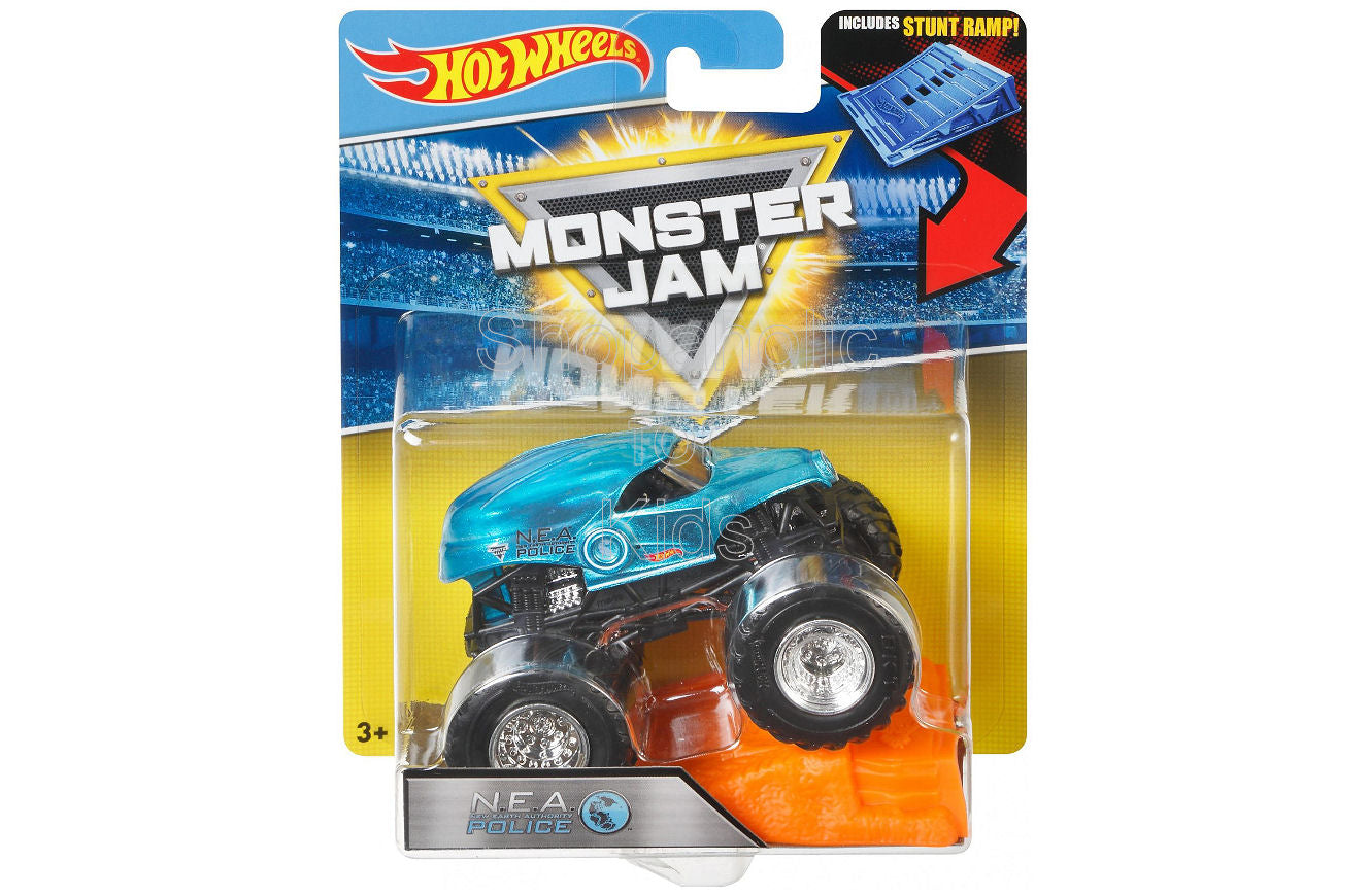 Hot Wheels Monster Jam N.E.A. Police Vehicle with Stunt Ramp