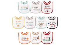 Hudson Baby My First Holiday Bibs, Pack of 10pcs (Set B) - Shopaholic for Kids