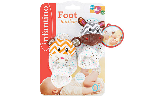 Infantino Foot Rattles - Zebra and Tiger