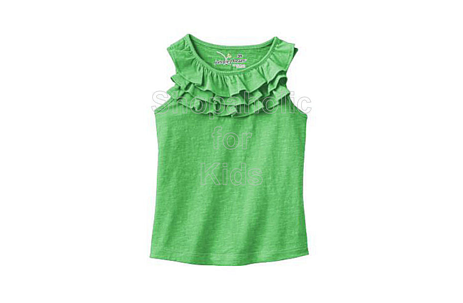 Jumping Beans Slubbed Ruffle Tank - Still Green - Shopaholic for Kids