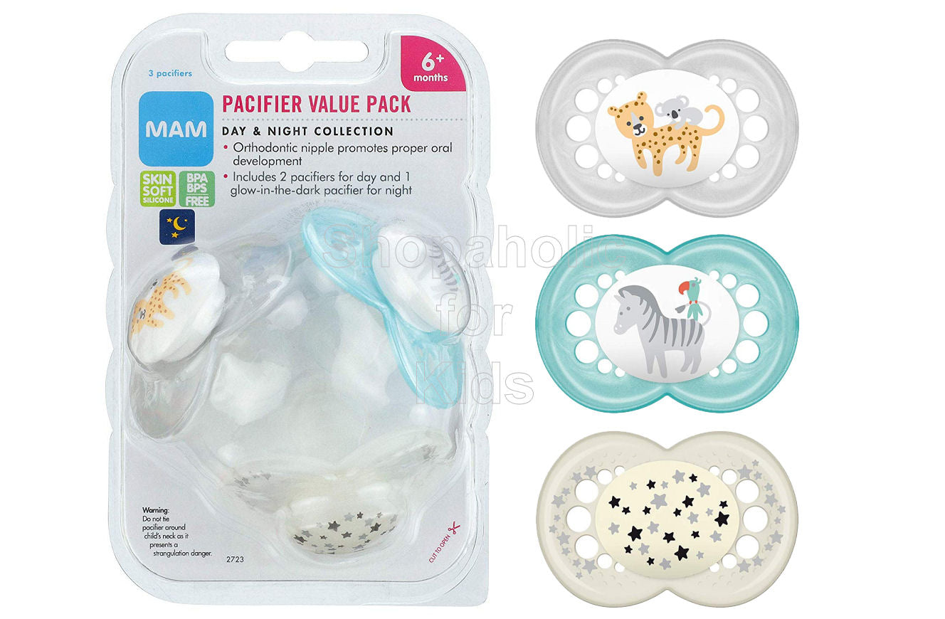 MAM Pacifiers Day & Night Design Collection, 6mos+, Pack of 3 - Shopaholic for Kids