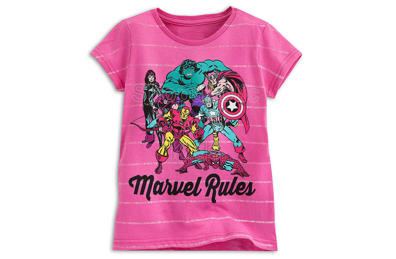 Marvel Rules Pink Tee for Girls - Shopaholic for Kids
