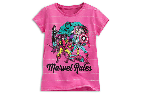 Marvel Rules Pink Tee for Girls