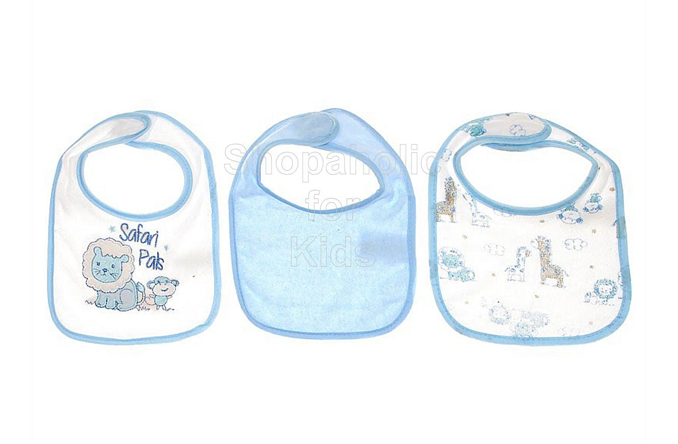 Mary Jane & Buster 3-pack Safari Pals Bibs Blue