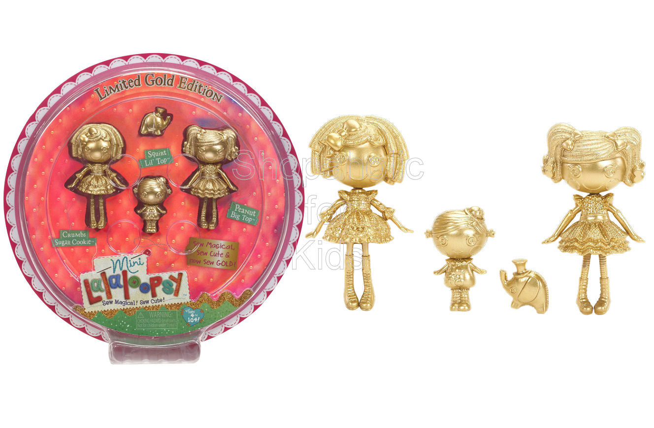 Mini Lalaloopsy Gold Edition 3 Pack: Crumbs Sugar Cookie, Peanut Big Top & Squirt Lil' Top - Shopaholic for Kids